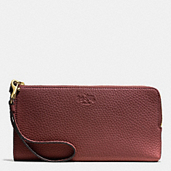 COACH BLEECKER PEBBLE LEATHER L-ZIP WALLET - GOLD/BRICK - F51981