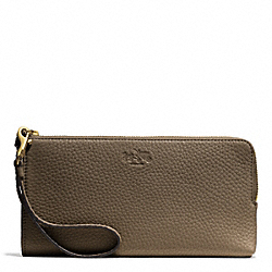 COACH BLEECKER PEBBLE LEATHER L-ZIP WALLET - GDD1Z - F51981