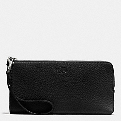 COACH BLEECKER L-ZIP WALLET IN PEBBLE LEATHER - SILVER/BLACK - F51981