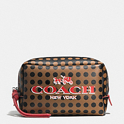 COACH BLEECKER SMALL BOXY COSMETIC CASE IN DOTS COATED CANVAS - AK/BRINDLE/BLACK - F51991