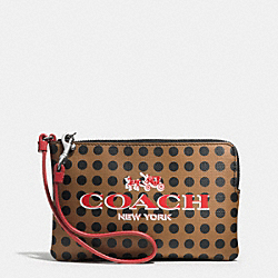 COACH BLEECKER ZIP SMALL WRISTLET IN DOTS COATED CANVAS - AK/BRINDLE/BLACK - F51992