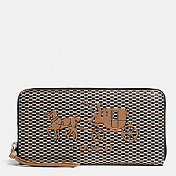 COACH BLEECKER ACCORDION ZIP WALLET IN COATED CANVAS - AK/MILK BLACK/BRINDLE - F52066