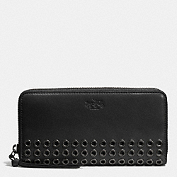 COACH BLEECKER GROMMETS ACCORDION ZIP WALLET IN LEATHER - ANTIQUE NICKEL/BLACK - F52076