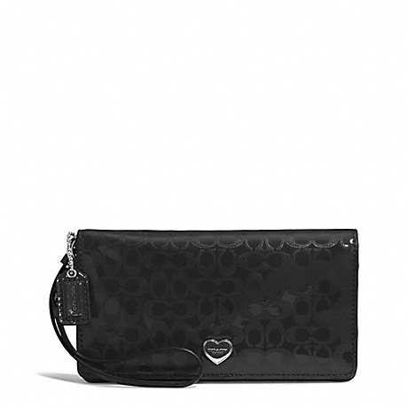 COACH PERFORATED EMBOSSED LIQUID GLOSS DEMI CLUTCH - SILVER/BLACK - f52081