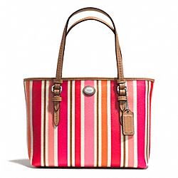 COACH PEYTON MULTI STRIPE TOP HANDLE TOTE - SILVER/PINK MULTICOLOR - F52087