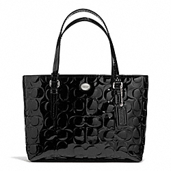 COACH PEYTON SIGNATURE C EMBOSSED PATENT TOP HANDLE TOTE - SILVER/BLACK - F52088