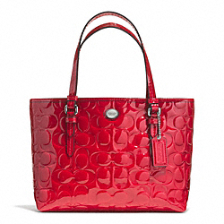 COACH PEYTON SIGNATURE C EMBOSSED PATENT TOP HANDLE TOTE - SILVER/RED - F52088