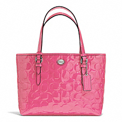 COACH PEYTON SIGNATURE C EMBOSSED PATENT TOP HANDLE TOTE - SILVER/STRAWBERRY - F52088