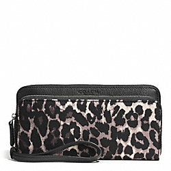 COACH PARK OCELOT PRINT DOUBLE ACCORDION ZIP AROUND WALLET - SILVER/BLACK MULTI - F52097