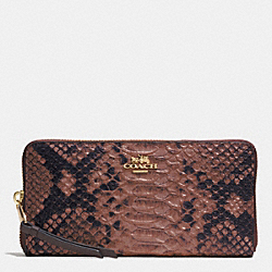 COACH MADISON ACCORDION ZIP WALLET IN DIAMOND PYTHON LEATHER - LIGHT GOLD/BRICK - F52100