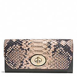 COACH MADISON DIAMOND PYTHON LEATHER SLIM ENVELOPE WALLET - LIGHT GOLD/ROSE PETAL - F52101