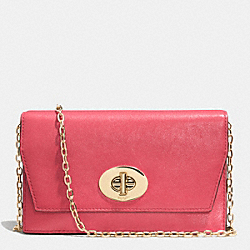 MADISON CLUTCH WALLET IN LEATHER - LIGHT GOLD/LOGANBERRY - COACH F52102