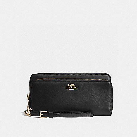COACH DOUBLE ACCORDION ZIP WALLET IN LEATHER - LIGHT GOLD/BLACK - f52103