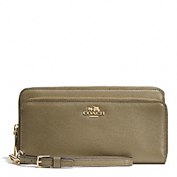 COACH DOUBLE ACCORDION ZIP WALLET IN LEATHER - LIGHT GOLD/OLIVE GREY - F52103