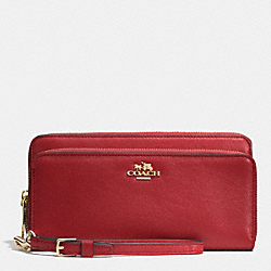COACH DOUBLE ACCORDION ZIP WALLET IN LEATHER - LIGHT GOLD/RED CURRANT - F52103
