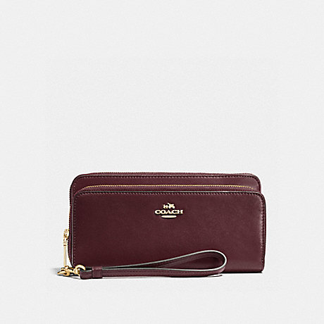 COACH DOUBLE ACCORDION ZIP WALLET - OXBLOOD/LIGHT GOLD - f52103