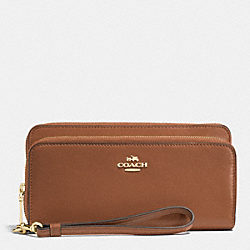COACH DOUBLE ACCORDION ZIP WALLET IN LEATHER - LIGHT GOLD/SADDLE - F52103