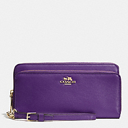 COACH DOUBLE ACCORDION ZIP WALLET IN LEATHER - LIGHT GOLD/VIOLET - F52103