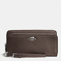 COACH DOUBLE ACCORDION ZIP WALLET IN LEATHER - SILVER/MINK - F52103