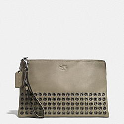COACH BLEECKER GROMMETS LARGE POUCH CLUTCH IN LEATHER - BLACK ANTIQUE NICKEL/OLIVE GREY - F52109