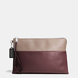THE LARGE BOROUGH CLUTCH IN RETRO COLORBLOCK LEATHER - ANTIQUE NICKEL/OXBLOOD/OLIGHT GOLDVE GREY - COACH F52112
