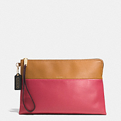 COACH THE LARGE BOROUGH CLUTCH IN RETRO COLORBLOCK LEATHER - GOLD/LOGANBERRY/TAN - F52112