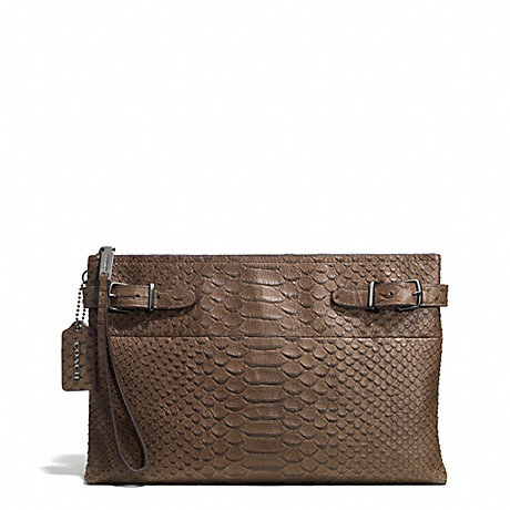 COACH LARGE BOROUGH CLUTCH IN PYTHON EMBOSSED LEATHER - BLACK ANTIQUE NICKEL/TAUPE GREY - f52113