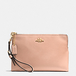 COACH MADISON LEATHER LARGE POUCH WRISTLET - LIGHT GOLD/ROSE PETAL - F52115