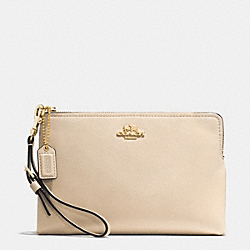 COACH MADISON LEATHER LARGE POUCH WRISTLET - LIGHT GOLD/MILK - F52115