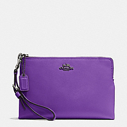 COACH MADISON LEATHER LARGE POUCH WRISTLET - QB/PURPLE IRIS - F52115