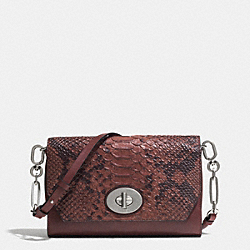 COACH BLEECKER CROSSTOWN CROSSBODY IN PYTHON EMBOSSED LEATHER - ANTIQUE NICKEL/BRICK - F52118
