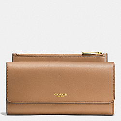 COACH SAFFIANO LEATHER SLIM ENVELOPE WALLET WITH POUCH - LIGHT GOLD/BRINDLE - F52119