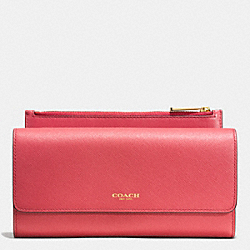 COACH SAFFIANO LEATHER SLIM ENVELOPE WALLET WITH POUCH - LIGHT GOLD/LOGANBERRY - F52119