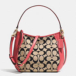 COACH LEGACY TOP HANDLE BAG IN PRINTED SIGNATURE FABRIC - LIGHT GOLD/LIGHT KHAKI BLK/LOGANBERRY - F52122