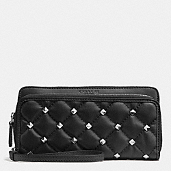 COACH METRO STUDDED QUILTED DOUBLE ACCORDION ZIP WALLET - SILVER/BLACK - F52160