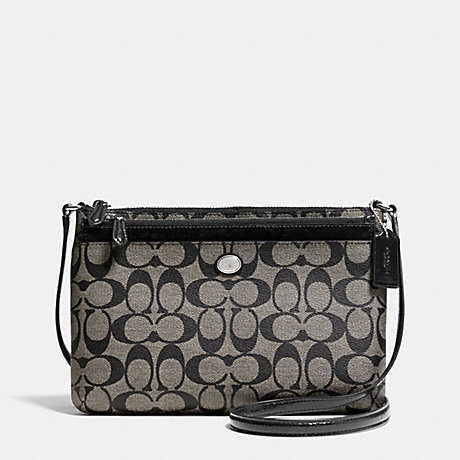 COACH f52175 PEYTON SIGNATURE SWINGPACK WITH POP UP POUCH SILVER/BLACK/WHITE/BLACK