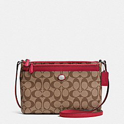 COACH PEYTON SIGNATURE SWINGPACK WITH POP UP POUCH - SILVER/KHAKI/RED - F52175