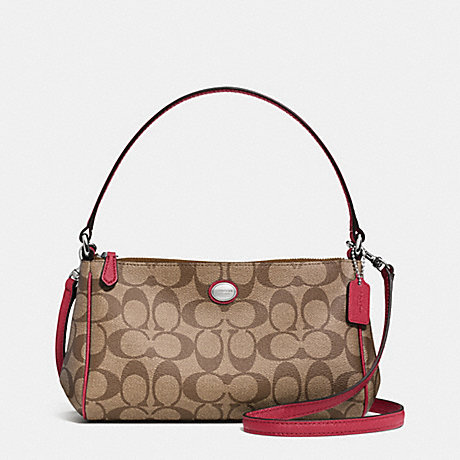 COACH PEYTON SIGNATURE TOP HANDLE POUCH WITH CROSSBODY - SILVER/KHAKI/RED - f52187