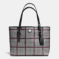 COACH PEYTON GLENPLAID PRINT TOP HANDLE TOTE - SILVER/BORDEAUX MULTI - F52196