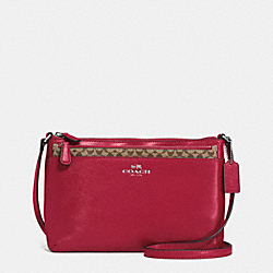 COACH DARCY LEATHER SWINGPAK WITH POP UP POUCH - SILVER/RED - F52206