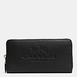 COACH PEBBLE LEATHER ACCORDION ZIP WALLET - LIGHT GOLD/BLACK - F52251