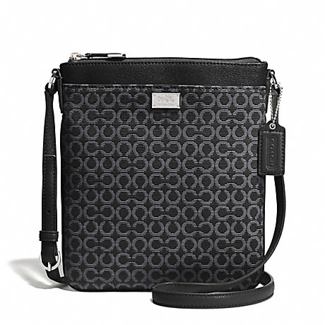 COACH f52284 MADISON OP ART NEEDLEPOINT SWINGPACK SILVER/BLACK