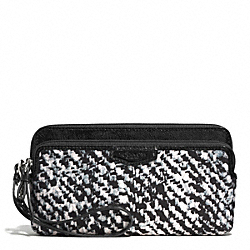 DONEGAL DOUBLE ZIP WALLET - f52287 - SILVER/IVORY MULTI