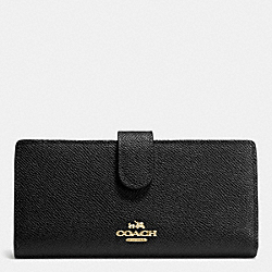 SKINNY WALLET IN EMBOSSED TEXTURED LEATHER - LIGHT GOLD/BLACK - COACH F52326