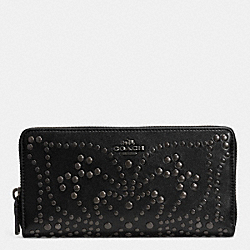 COACH MINI STUDS ACCORDION ZIP WALLET IN LEATHER - ANTIQUE NICKEL/BLACK - F52328