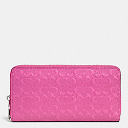 COACH ACCORDION ZIP WALLET IN LOGO EMBOSSED LEATHER - SILVER/FUCHSIA - F52330