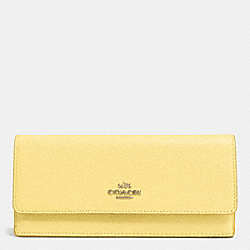 COACH SOFT WALLET IN EMBOSSED TEXTURED LEATHER - LIGHT GOLD/PALE YELLOW - F52331