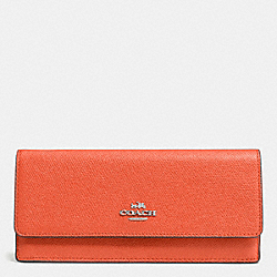 COACH SOFT WALLET IN EMBOSSED TEXTURED LEATHER - SILVER/CORAL - F52331