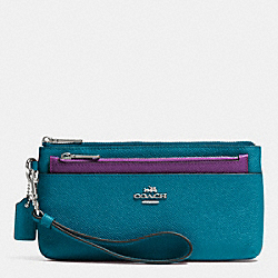COACH ZIPPY WALLET WITH POP-UP POUCH IN EMBOSSED TEXTURED LEATHER - SILVER/TEAL - F52334