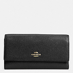 COACH CHECKBOOK WALLET IN COLORBLOCK LEATHER - LIGHT GOLD/BLACK - F52337
